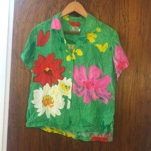 Jams World green/pink/yellow flowers Aloha shirt